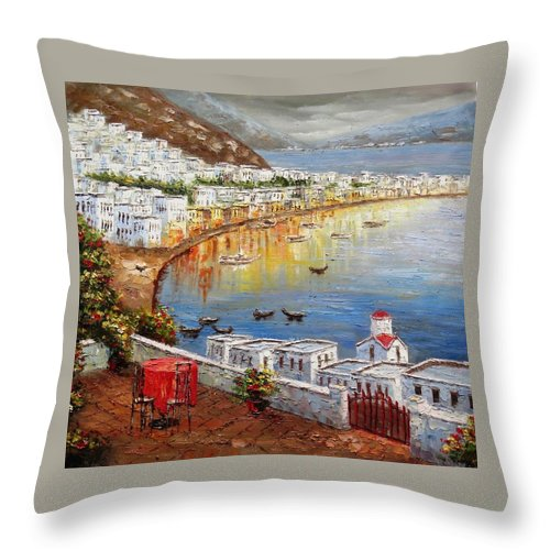 Oil Colors Throw Pillow featuring the painting Venice by Yokami Arts