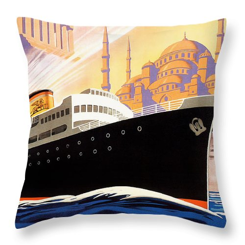 Venise Throw Pillow featuring the drawing Venise Vintage Travel Poster by Jon Neidert