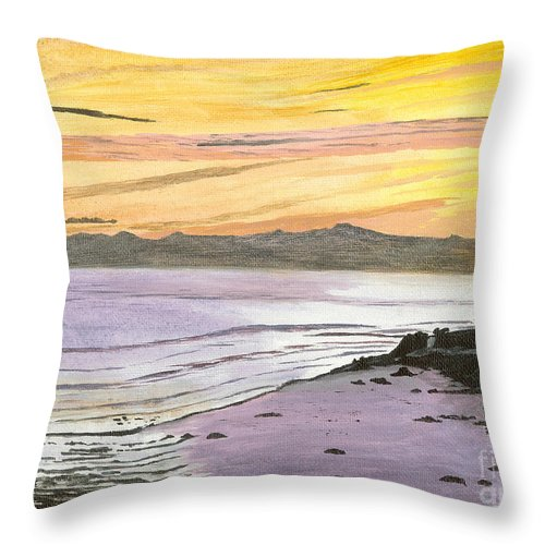 Waves Throw Pillow featuring the painting Ventura Point At Sunset by Ian Donley