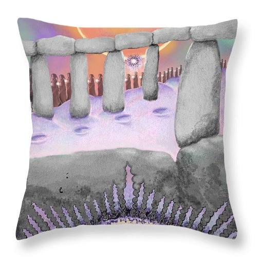 Stonehenge Throw Pillow featuring the painting Venus Rising by Carol Jacobs
