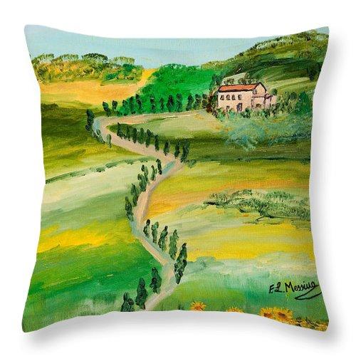 Loredana Messina Throw Pillow featuring the painting Verde Sentiero by Loredana Messina