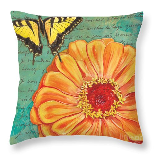 Floral Throw Pillow featuring the painting Verdigris Floral 1 by Debbie DeWitt
