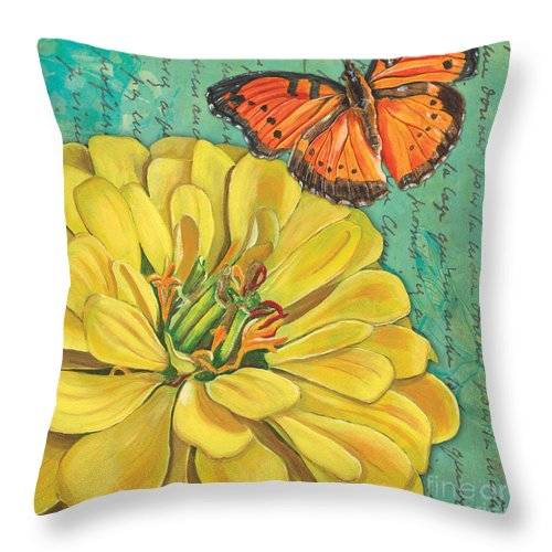 Floral Throw Pillow featuring the painting Verdigris Floral 2 by Debbie DeWitt
