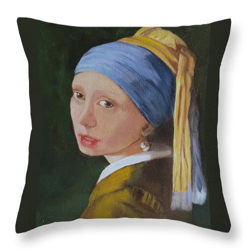 Portrait Throw Pillow featuring the painting Vermeer Study by Sharon Schultz