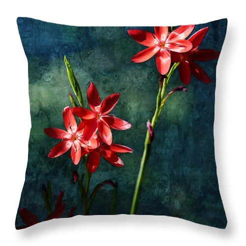 Vermilion Throw Pillow featuring the photograph Vermilion Flowers by Belinda Greb