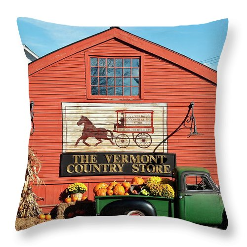 Americana Throw Pillow featuring the photograph Vermont Country Store by John Greim