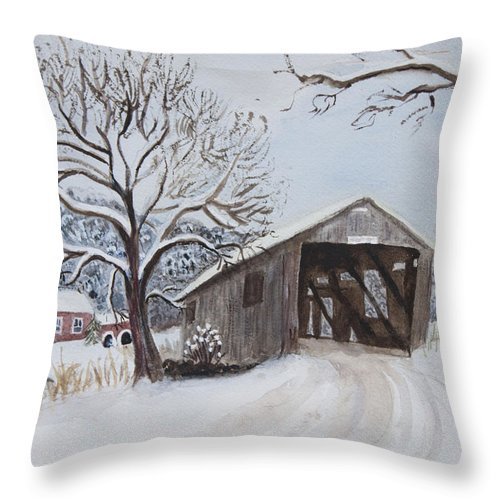 Vermont Throw Pillow featuring the painting Vermont Covered Bridge In Winter by Donna Walsh