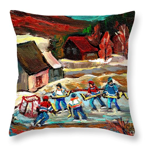 Vermont Throw Pillow featuring the painting Vermont Pond Hockey Scene by Carole Spandau