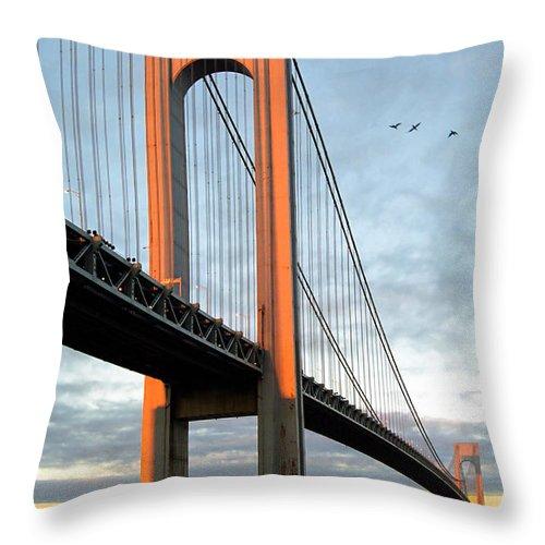 Verrazano Bridge Throw Pillow featuring the photograph Verrazano Bridge At Sunrise - Verrazano Narrows by Gary Heller