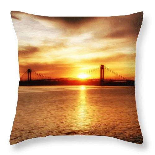 Verrazano Bridge Throw Pillow featuring the painting Verrazano Bridge At Sunset by Boris Mordukhayev