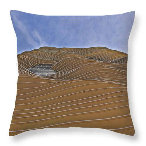 Curvilinear Throw Pillow featuring the photograph Vertical Dune - The Aqua Tower by Mary Machare