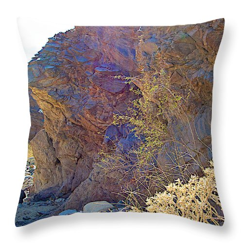 Vertical View Of Big Painted Canyon Trail In Mecca Hills Throw Pillow featuring the photograph Vertical View Of Big Painted Canyon Trail In Mecca Hills-ca by Ruth Hager