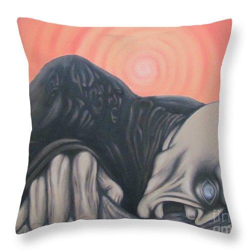 Tmad Throw Pillow featuring the painting Vertigo by Michael TMAD Finney