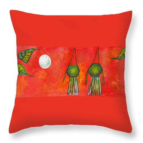 Vesak Throw Pillow featuring the painting Vesak Lanterns by Nirdesha Munasinghe