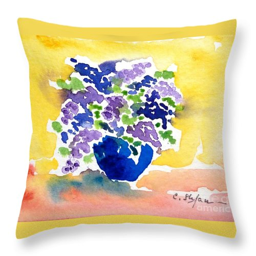 Lilas Throw Pillow featuring the painting Vase With Lilas Flowers by Cristina Stefan