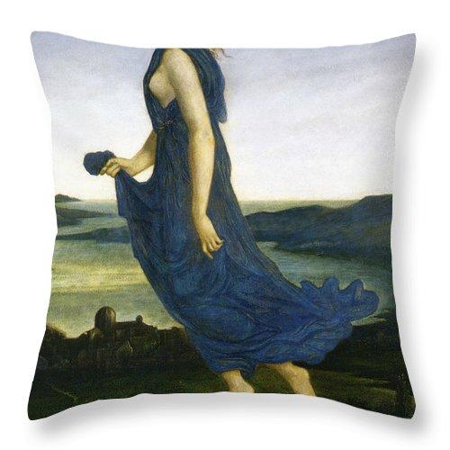 Edward Burne Jones Throw Pillow featuring the digital art Vesper The Evening Star by Edward Burne Jones