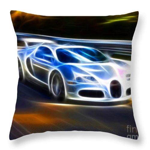 Car Throw Pillow featuring the mixed media Veyron - Bugatti by Pamela Johnson