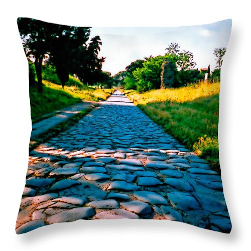 Appia Throw Pillow featuring the photograph Via Appia Antica - Rome by Donna Proctor