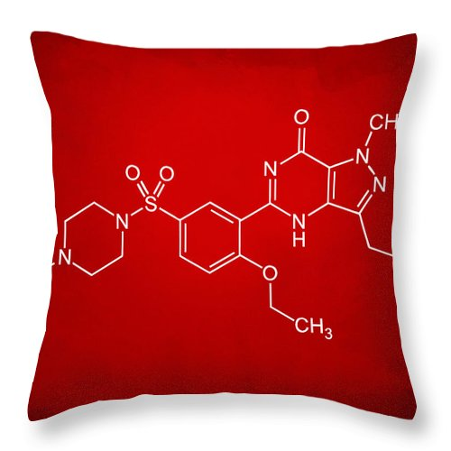Viagra Throw Pillow featuring the digital art Viagra Molecular Structure Red by Nikki Marie Smith