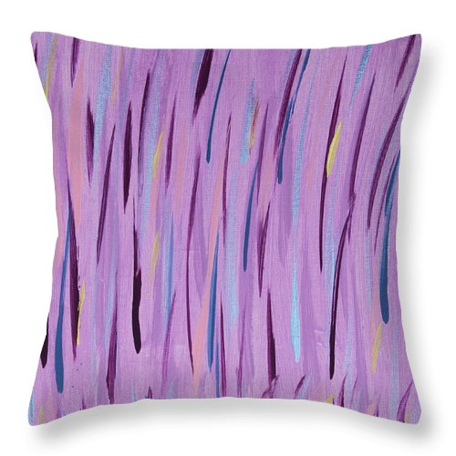 Abstract Throw Pillow featuring the painting Vibrant Grass by Laura Lane