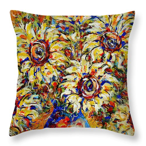 Flowers Throw Pillow featuring the painting Vibrant Sunflower Essence by Natalie Holland