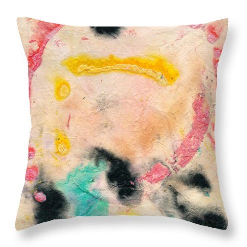 Vibrations Throw Pillow featuring the painting Vibrations by Janet Gunderson