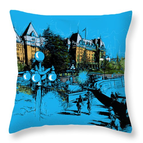 Vancouver Throw Pillow featuring the painting Victoria Art 002 by Catf
