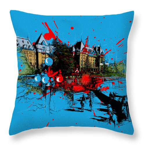 Vancouver Throw Pillow featuring the painting Victoria Art 003 by Catf