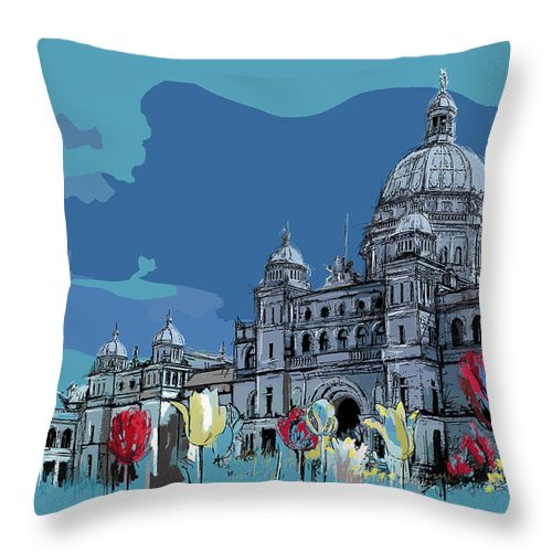 Vancouver Throw Pillow featuring the painting Victoria Art 007 by Catf