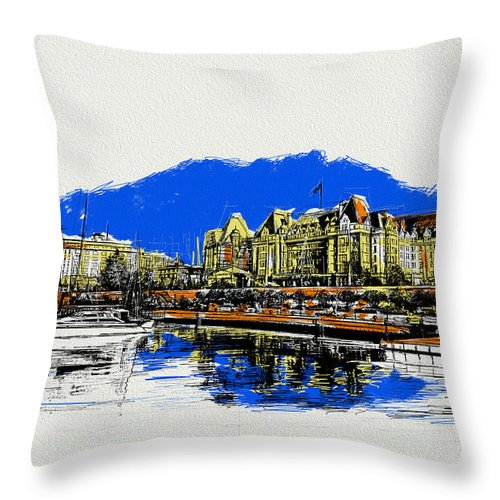 Vancouver Throw Pillow featuring the painting Victoria Art 011 by Catf