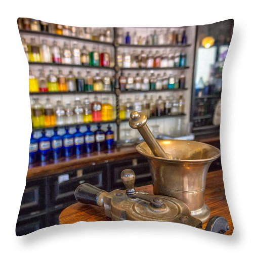British Throw Pillow featuring the photograph Victorian Chemist Equipment by Adrian Evans