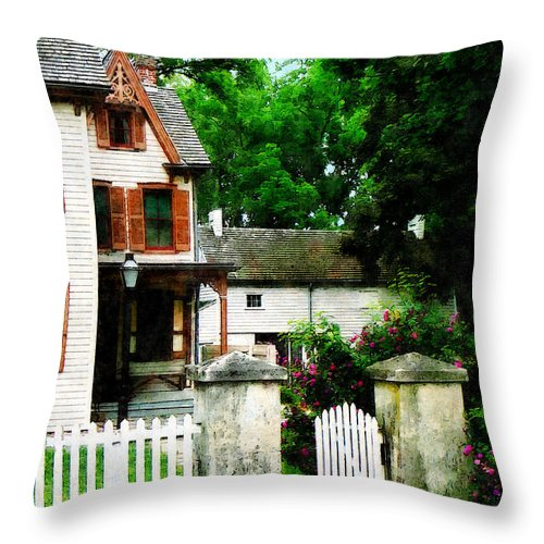 Victorian Throw Pillow featuring the photograph Victorian Home With Open Gate by Susan Savad