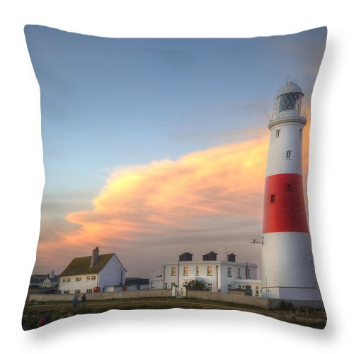 Lighthouse Throw Pillow featuring the photograph Victorian Lighthouse At Sunset by Matthew Gibson