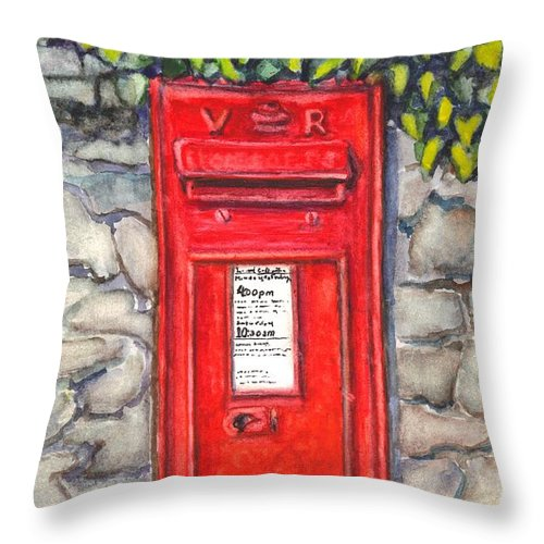Mailbox Throw Pillow featuring the painting Victorian Mailbox by Carol Wisniewski