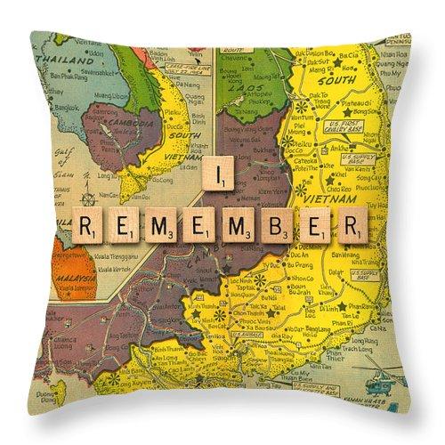 Vietnam War Map Throw Pillow featuring the painting Vietnam War Map by Gary Grayson