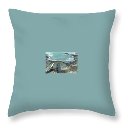 Polpeor Throw Pillow featuring the photograph View Across Polpeor Cove by Lisa Byrne