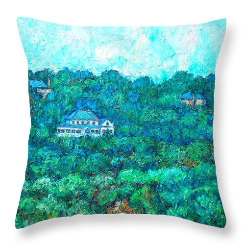 Mountains Throw Pillow featuring the painting View From Rec Center by Kendall Kessler