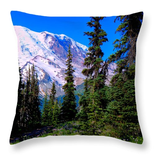 Mount Rainier Throw Pillow featuring the photograph View From The Meadow by David Patterson
