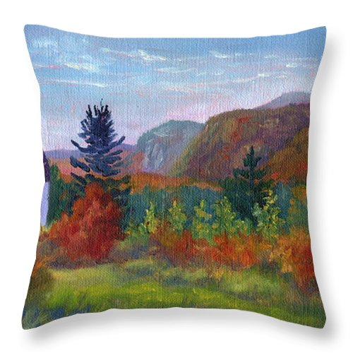 Cathedral Ledge Throw Pillow featuring the painting View from Thorn Hill Road by Sharon E Allen