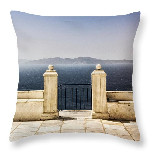 Tranquility Throw Pillow featuring the photograph View From Tinos by Photography Of Beauty And Mystery