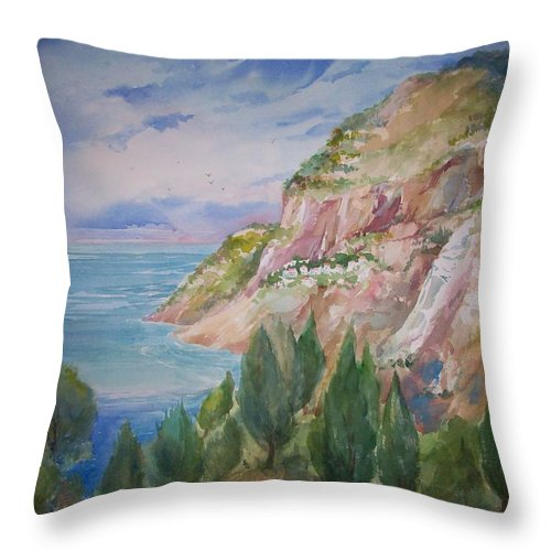 Capri Throw Pillow featuring the painting View From Villa Brunella by Sue Kemp
