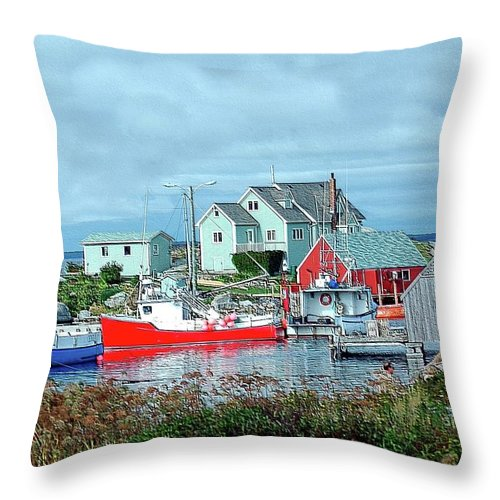 Boat Throw Pillow featuring the photograph View Of Cove by Kathleen Struckle