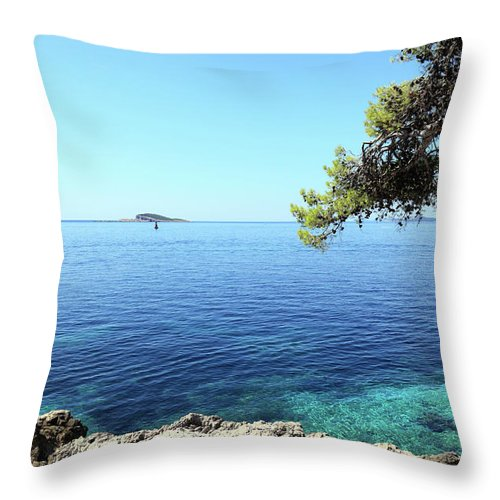 Water's Edge Throw Pillow featuring the photograph View Of Dubrovnik From Cavtat Peninsula by Vuk8691