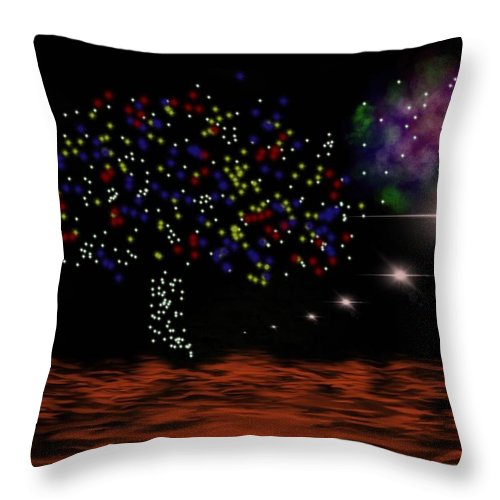 Landscape Throw Pillow featuring the digital art View Of Euphrate by Isaac Fubara