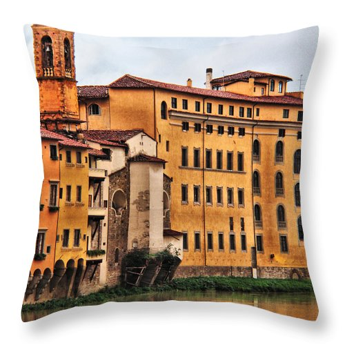 Florence Throw Pillow featuring the digital art View Of Florence Along The Arno River by Greg Matchick