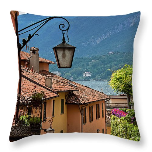 Tranquility Throw Pillow featuring the photograph View Of Lake Como From Upper Street by Melinda Moore