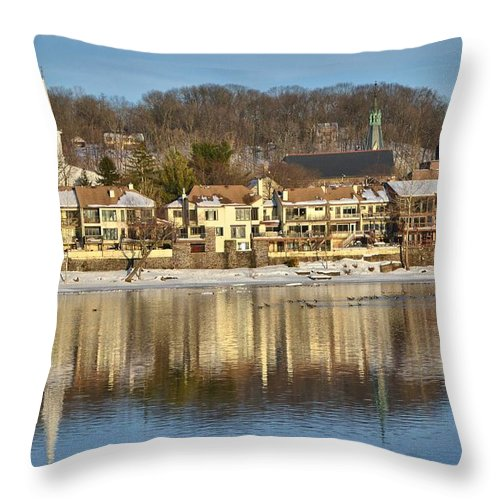 Lambertville Throw Pillow featuring the photograph View Of Lambertville Nj From New Hope Pa-winter 2 by Alex Vishnevsky