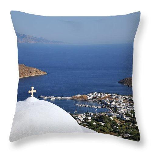 Serifos; Chora; Hora; Livadi; Village; Town; City; Port; Harbor; Greece; Greek; Hellas; Cyclades; Kyklades; Aegean; Islands; View; Sight; Holidays; Vacation; Travel; Trip; Voyage; Journey; Tourism; Touristic; Island; Summer; Blue; Sky; Sea; Horizon; White; Chapel; Church; Religion; Dome; Cross; Hill; Top Throw Pillow featuring the photograph View Of Livadi Port by George Atsametakis