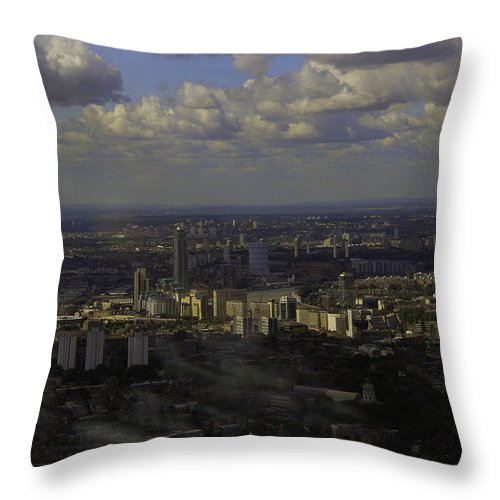 London Throw Pillow featuring the photograph view of London within the Clouds by Fred West