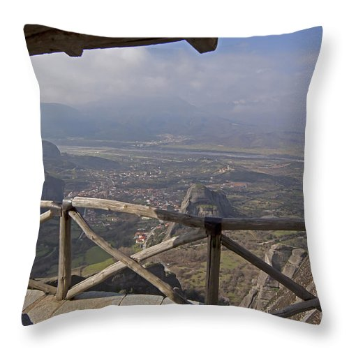Meteora Throw Pillow featuring the photograph View Of Meteora From The Monastery  #9722 by J L Woody Wooden